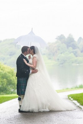 Bride and Groom rain