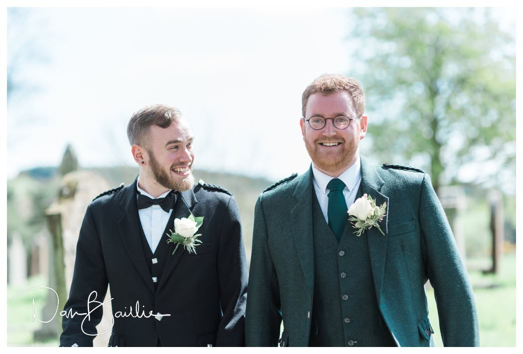 Groom and best man arrive at Colvend Church