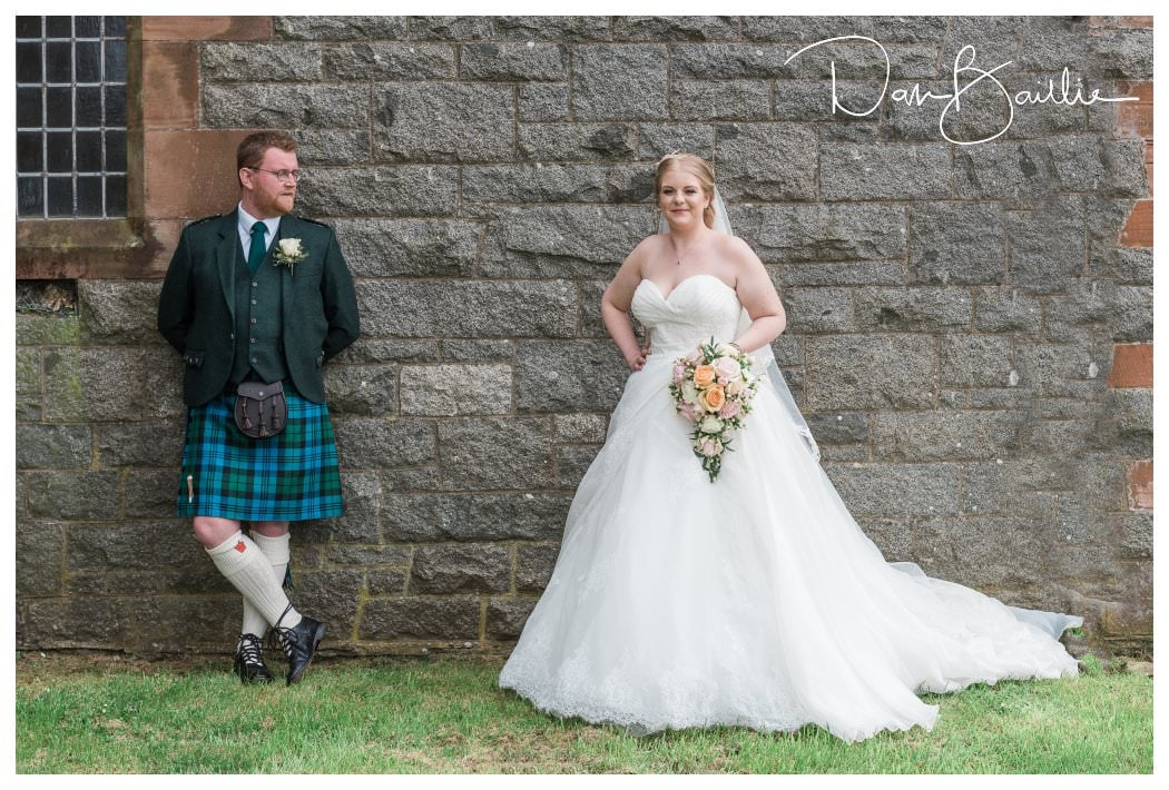 Bride and Groom outside Colvend Church in Dalbeattie