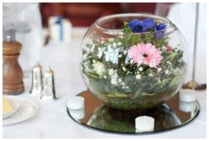 wedding flowers in a fishbowl