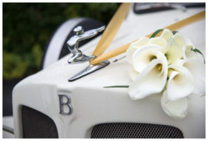 wedding bouquet on bentley
