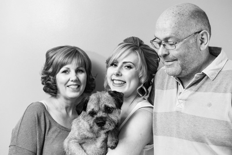 bride, mum, dad and dog