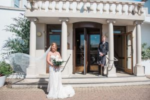 bride and groom at north west castle