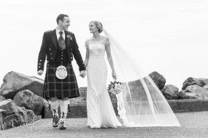 bride and groom at portpatrick