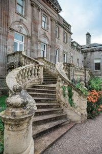 stone staircase at springkell house