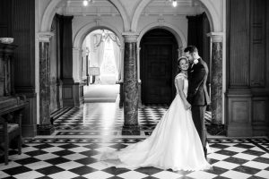 bride and groom at springkell house