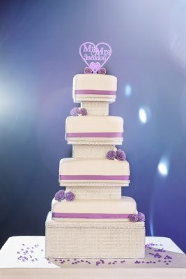 white tiered wedding cake