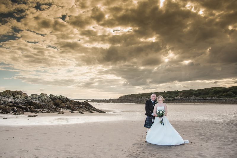 sunset wedding photograph at mossyard beach
