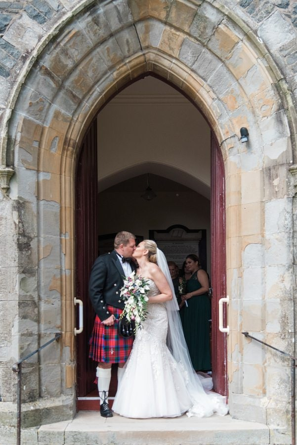 bride and groom at Portpatrick House