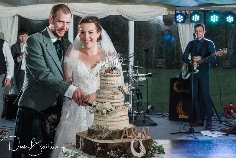 cutting the cake wedding day