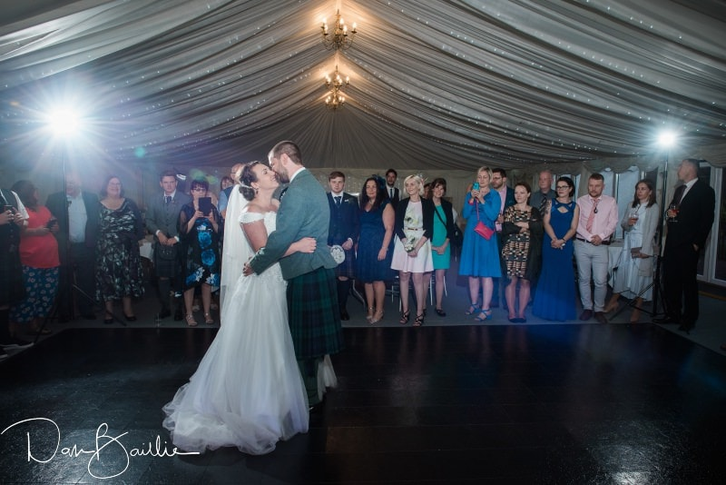 first dance on wedding day at friars carse marquee
