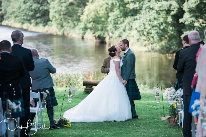 an outdoor wedding at friars carse hotel